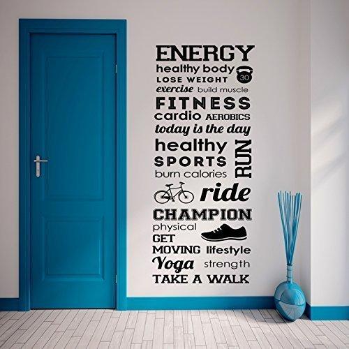 9786041959286: Autocollant mural vinyle mots energy fitness healty body sport 55x150cm - Autre couleur