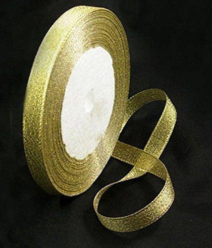 9786042664752: Elegant Events 25 Yard Roll 6mm Gold Mettalic Glitter Sparkle Organza Ribbon