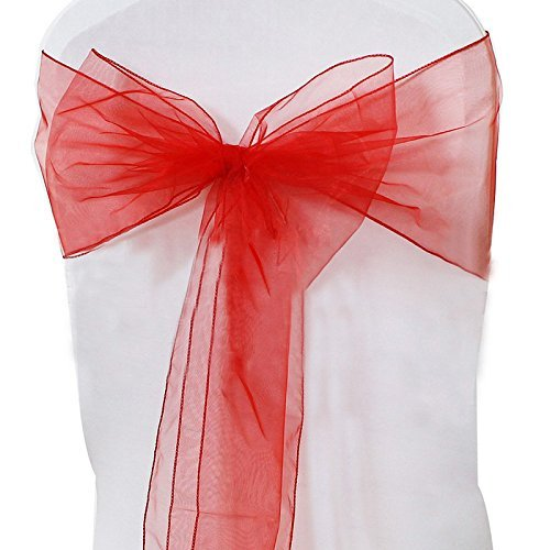 9786042666244: Elegant Events Red Organza Sashes Chair Cover Bow Sash WIDER FULLER BOW Wedding Party (50pcs)