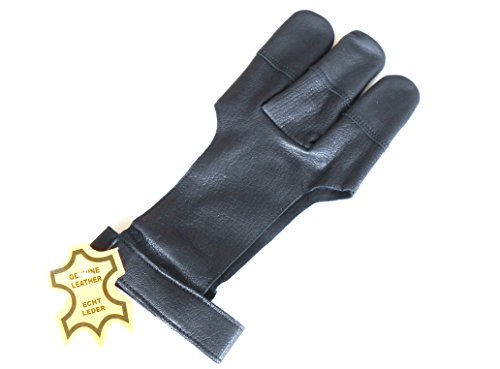 9786042741842: Quality Genuine Leather Traditional Archery Soft Skin Finger Glove (Large)