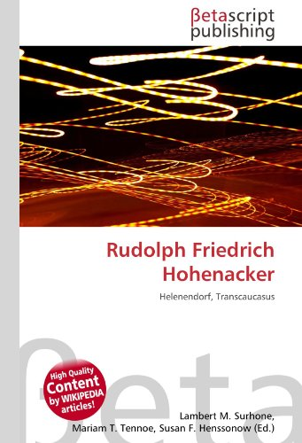 9786131131745: Rudolph Friedrich Hohenacker: Helenendorf, Transcaucasus