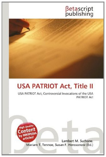 9786131396175: USA Patriot ACT, Title II