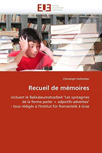 """Recueil de mémoires: incluant le Bakkalaureatsarbeit """"Les: Christoph Hofstätter"""