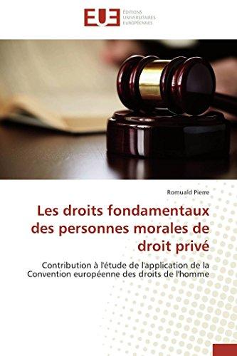 9786131585913: Les droits fondamentaux des personnes morales de droit privé