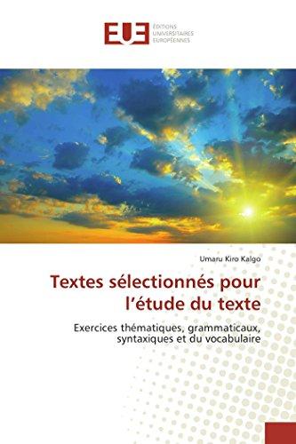 Textes sélectionnés pour l'étude du texte: Kiro Kalgo, Umaru