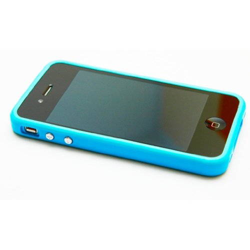 9787214070203: Trend Line Bumper Case for iPhone 4 (Blue) with One Full Front and Back Body Anti-Glare Screen Guard