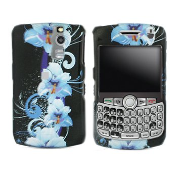 9787539147468: Black Blue Flower Snap on Design Case Skin Cover Faceplate for Blackberry Curve 8300 8310 8320 8330 + Screen Protector Film