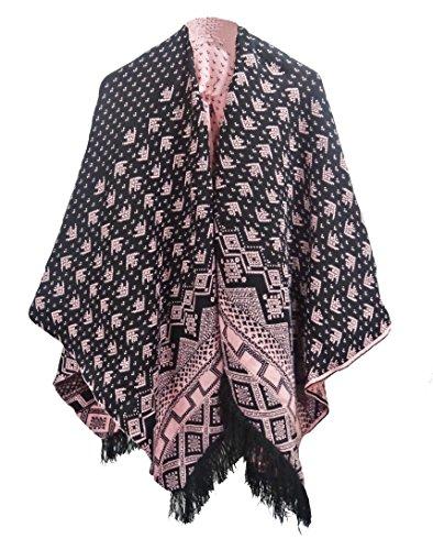 9787900048653: Get The Trend - Poncho - Étnica - para mujer Negro rosa Talla única