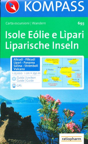 9788024225715: Aeolian (Lipari) Islands 1:25,000 Hiking Map, GPS-compatible KOMPASS