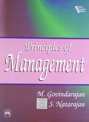 Principles of Management: M. Govindarajan,S. Natarajan