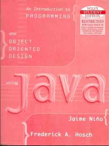 9788126523535: Introduction to Programming and Object-Oriented Design Using Java