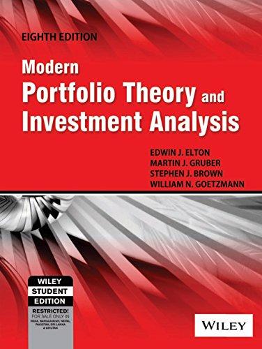 9788126528141: Modern Portfolio Theory And Investment Analysis, 8Th Ed