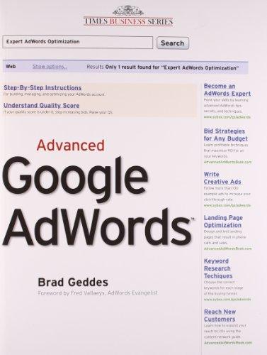 9788126532223: Advanced Google Adwords