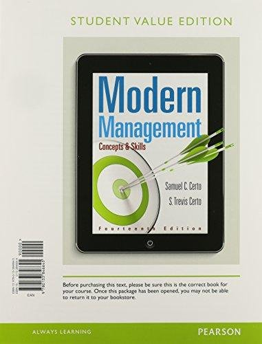 Modern Management (International Edition): SAMUEL C. CERTO,
