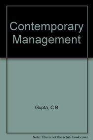 Contemporary Management: Gupta, Chandra Bhan