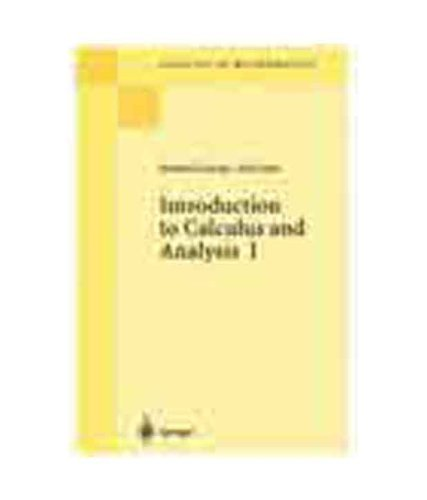 9788181281685: Introduction to Calculus and Analysis Vol 1