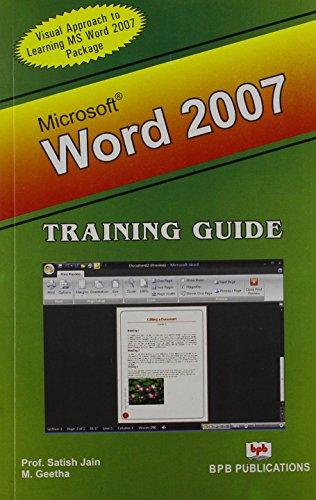 Microsoft Word 2007: Training Guide: M. Geetha,Satish Jain