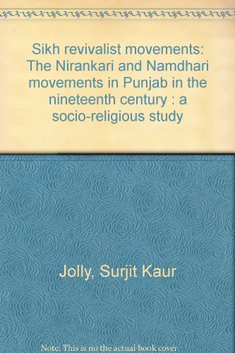 Sikh revivalist movements: The Nirankari and Namdhari: Jolly, Surjit Kaur