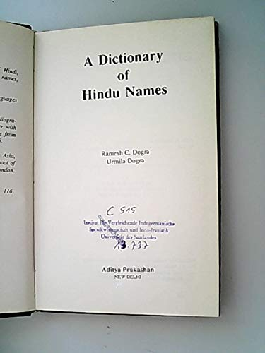 A Dictionary of Hindu Names: R.C. Dogra and Urmila Dogra