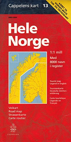 9788202186227: Hele Norge med 8000 navn i register, 1:1 mill. bil- og turistkart: Med nye veinummer = Tourist map, legend in English (Cappelens kart) (Norwegian Edition)