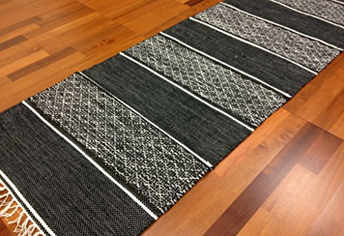 9788278862704: Parches Alfombra - Visby (Negro), negro, 70 x 200 cm