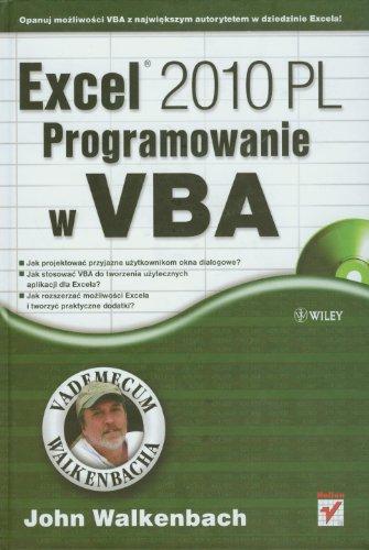 9788324628636: Excel 2010 PL Programowanie w VBA: Vademecum Walkenbacha