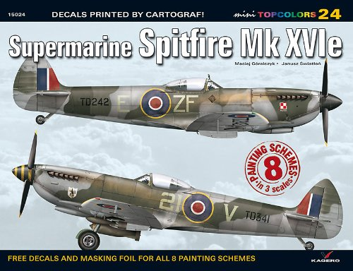 9788362878123: Supermarine Spitfire Mk XVIe Decals: 8 Painting Schemes in 3 Scales (Mini Topcolors)