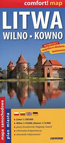 Litwa, Wilno, Kowno. Mapa samochodowa. 1:700 000,