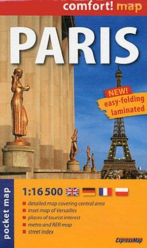 9788375462487: París, plano callejero de bolsillo plastificado. Escala 1:16.500. ExpressMap. (Comfort ! Map)
