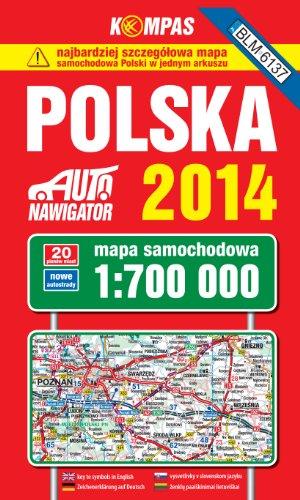 Polska 2014. Mapa samochodowa. 1:700000 Kompas