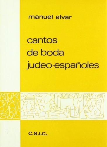 9788400025755: CANTOS DE BODA JUDEO ESPAÑOLES