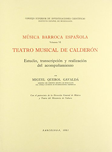 9788400047962: Musica Barroca Espanola, Vol. 6: Teatro Musical de Calderón
