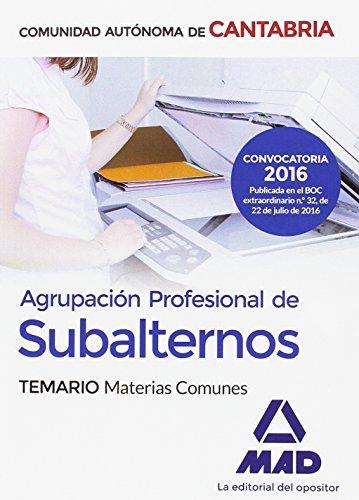 9788414200339: Agrupación Profesional de Subalternos de la Comunidad Autónoma de Cantabria. Temario Materias Comunes