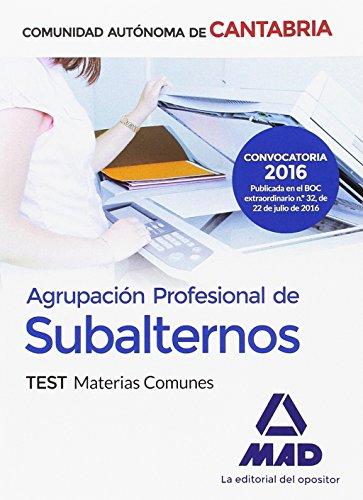 9788414200360: Agrupación Profesional de Subalternos de la Comunidad Autónoma de Cantabria. Test Materias Comunes