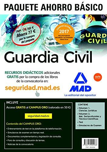 9788414200988: PAQUETE AHORRO BÁSICO Guardia Civil 2017 AHORRO DE 77 . (incluye Temarios 1 y 2; Test; Simulacros de Examen y acceso a Campus Oro)