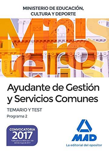 9788414208380: Ayudante de Gestión y Servicios Comunes del Ministerio de Educación, Cultura y Deporte. Temario y test Programa 2