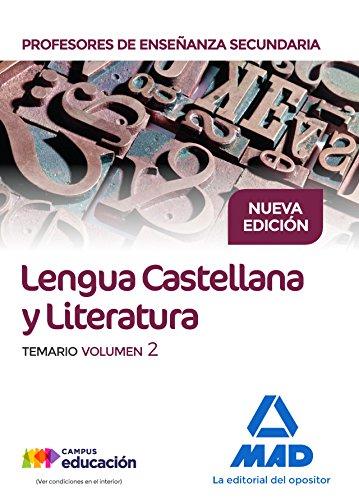 9788414212240: Cuerpo de Profesores de Enseñanza Secundaria. Lengua Castellana y Literatura. Temario. Volumen 2