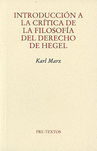 9788415576815: Introducción A La Crítica De La Filosofía Del Derecho De Hegel (Ensayo)