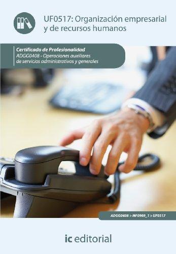 9788415792154: Organización empresarial y de recursos humanos. adgg0408 - operaciones auxiliares de servicios administrativos y generales