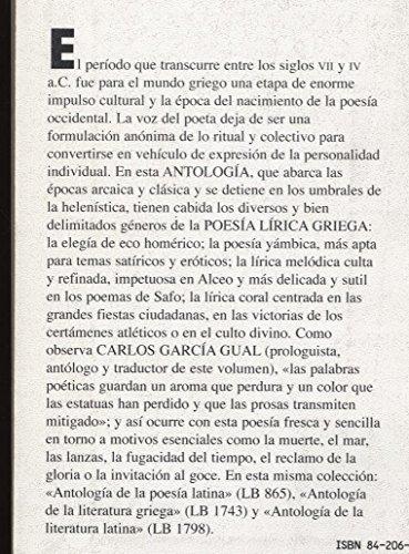 9788420617824: Antologia de la poesia lirica griega (siglos VII-IV a.C.) (Seccion Clasicos) (Spanish Edition)