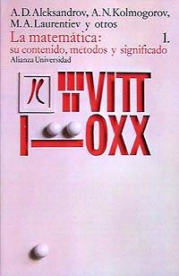 9788420620688: La matemática: su contenido, métodos y significado, 1 (Alianza Universidad (Au))