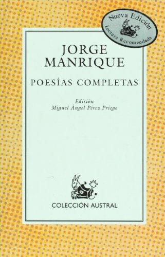 9788423998715: Poesias completas de Jorge Manrique (Poesia) (Spanish Edition) (Poesía)