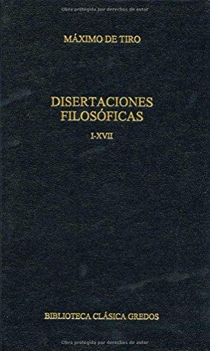 9788424927486: Disertaciones filosoficas i-xvii. (B. CLÁSICA GREDOS)