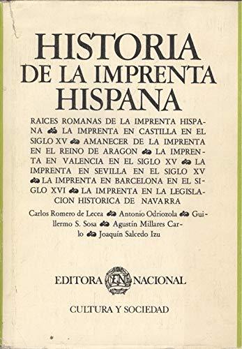 9788427605633: Historia de la imprenta hispana (Cultura y sociedad) (Spanish Edition)