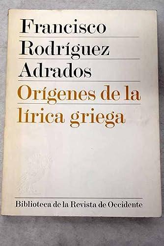 9788429287172: Orígenes de la lírica griega (Sección varias) (Spanish Edition)