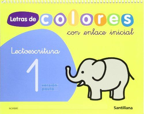 Letras de colores con enlace inicial. Lectoescritura
