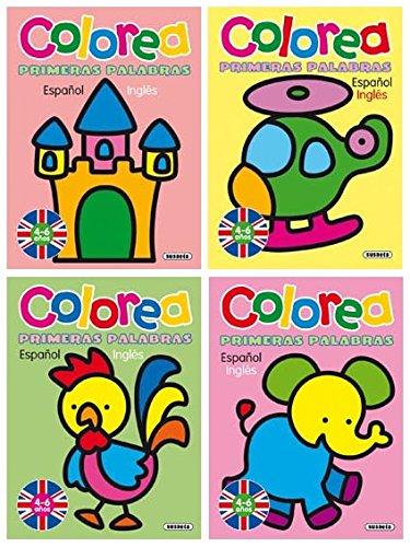 9788430521746: Colorea primeras palabras español - inglés (Pack de 4 libros)
