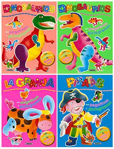 9788430565580: Pegatinas de quita y pon con pictogramas (Pack de 4 libros)