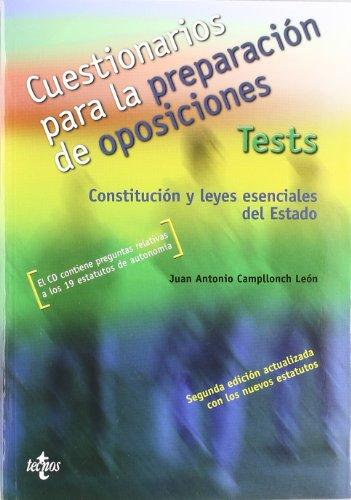 9788430946655: Cuestionarios para la preparación de oposiciones Tests: Constitución y leyes especiales del Estado. El CD contiene preguntas relativas a los 19 estatutos de autonomía (Derecho - Práctica Jurídica)