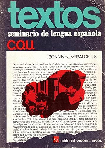 Textos. Seminario de lengua española. COU.: Bonnin Valls, Ignacio.